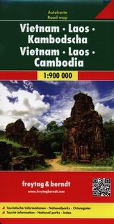 Wietnam Laos Kambodża mapa 1:900 000