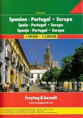 HISZPANIA PORTUGALIA EUROPA ATLAS 1:400 000 / 1:3 500 000