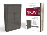 NKJV, Deluxe Gift Bible, Leathersoft, Gray, Red Letter Edition, Comfort Print
