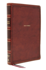 NKJV, Thinline Bible, Giant Print, Leathersoft, Brown, Red Letter, Comfort Print
