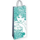 Alfons Mucha - Emerald - dárková taška na lahev