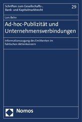 Ad-hoc-Publizität und Unternehmensverbindungen