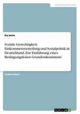 Soziale Gerechtigkeit, Einkommensverteilung und Sozialpolitik in Deutschland. Zur Einführung eines Bedingungslosen Grundeinkomme