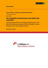 Der subsidiäre Schutzstatus nach §§ 60, 60a AufenthG