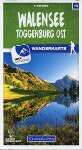 Walensee - Toggenburg Ost 15 Wanderkarte 1:40 000 matt laminiert