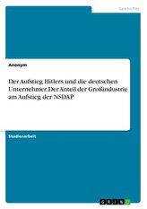 Der Aufstieg Hitlers und die deutschen Unternehmer. Der Anteil der Großindustrie am Aufstieg der NSDAP
