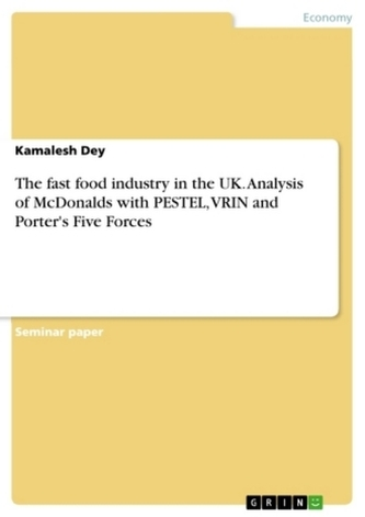 The fast food industry in the UK. Analysis of McDonalds with PESTEL, VRIN and Porter\'s Five Forces