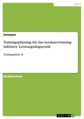 Trainingsplanung für das Ausdauertraining inklusive Leistungsdiagnostik