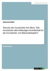 """Theorie der Geschichte bei Marx. \""""Die Geschichte aller bisherigen Gesellschaft  ist die Geschichte von Klassenkämpfen\"""""""