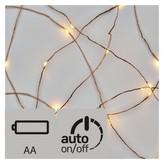 LED vánoční nano řetěz, 2× AA, 1,9m, teplá bílá, časovač