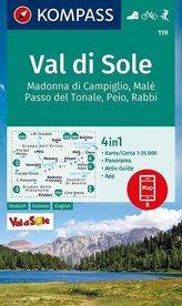 KOMPASS Wanderkarte Val di Sole, Madonna di Campiglio, Malè, Passo del Tonale, Peio, Rabbi 1:35 000