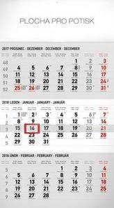3měsíční standard šedý 2018 - nástěnný kalendář