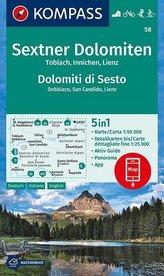 KOMPASS Wanderkarte Sextner Dolomiten, Dolomit di Sesto, Toblach, Dobbiaco, Innichen, San Candido, Lienz  1:50 000