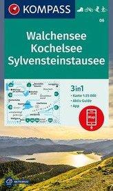 KOMPASS Wanderkarte Walchensee, Kochelsee, Sylvensteinstausee 1:25 000