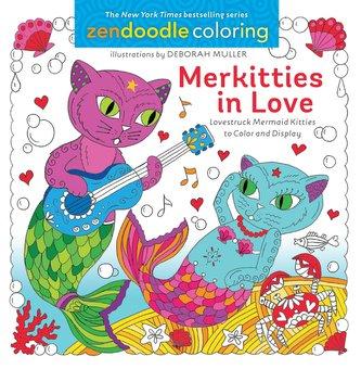 Zendoodle Coloring: Merkitties in Love: Lovestruck Mermaid Kitties to Color and Display