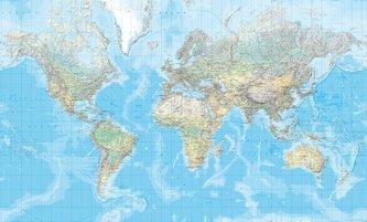 Die Welt, physische Karte 1 : 20 000 000, plano