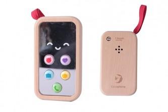 Telefon Mobil dřevo 11cm na baterie se zvukem v krabičce  8x12x4cm 10m+