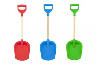 Lopatka na písek plast/dřevo 3 barvy 19x64x7cm 12m+