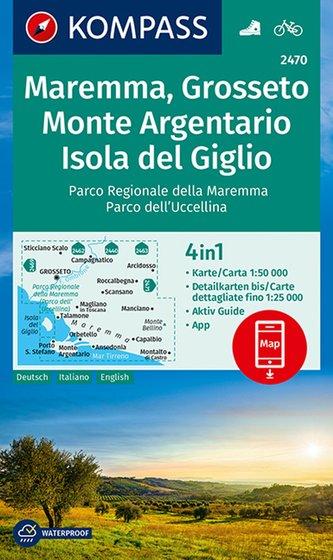 KOMPASS Wanderkarte Maremma, Grosseto, Monte Argentario, Isola del Giglio 1:50 000