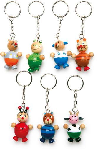 Dřevěné přívěšky na klíče - Zvířátka 1ks  myš