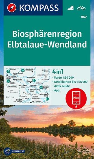 KOMPASS Wanderkarte Biosphärenregion Elbtalaue-Wendland 1:50 000