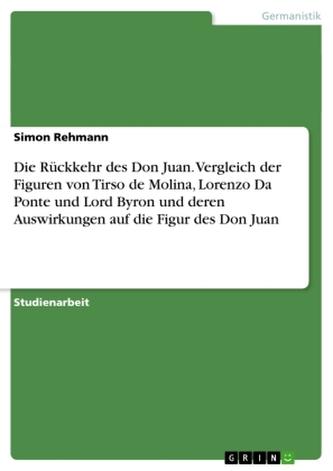 Die Rückkehr des Don Juan. Vergleich der Figuren von Tirso de Molina, Lorenzo Da Ponte und Lord Byron und deren Auswirkungen auf