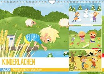 KINDERLACHEN - Fröhlich durch das Jahr - Ein Kinderkalender (Wandkalender 2022 DIN A4 quer)