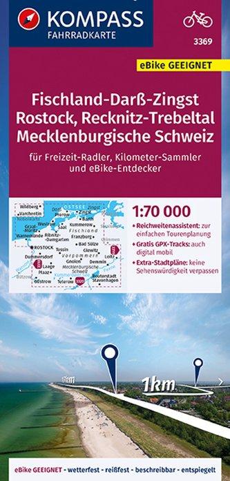 KOMPASS Fahrradkarte Fischland-Darß-Zingst, Rostock, Recknitz-Trebeltal, Mecklenburgische Schweiz 3369, 1:70 000
