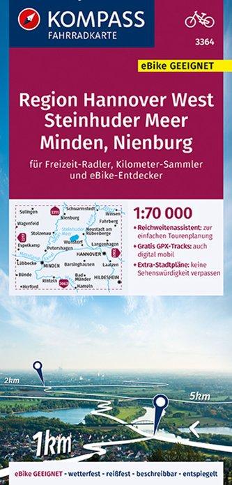 KOMPASS Fahrradkarte Region Hannover 3364,  1:70 000