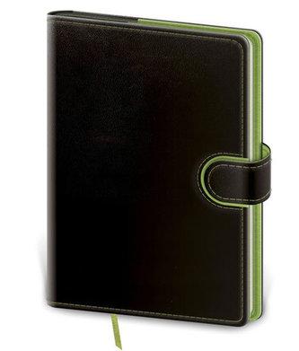 Zápisník Flip A5 tečkovaný - černo/zelená