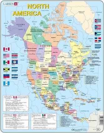 Fotografie Larsen Puzzle Mapa Severni Ameriky Vlajky 85 Dilku