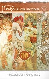Kalendář nástěnný 2019 - Alfons Mucha, 33 x 46 cm