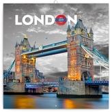 Poznámkový kalendář Londýn 2019, 30 x 30