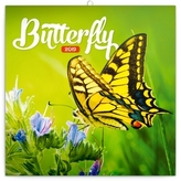 Poznámkový kalendář Motýli 2019, 30 x 30
