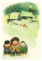Pohlednice - Děti ve sněhu