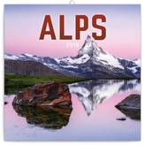 Poznámkový kalendář Alpy 2019, 30 x 30 c