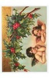 Pohlednice - Vánoce, dva andělé a cesmína