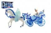 Panenka s koňem a kočárem plast na baterie se světlem v krabici 56x30x19cm