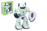 Robot chodící a otáčecí s doplňky 20cm na baterie se zvukem a světlem v krabici 23x24x10cm