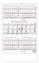 Kalendář nástěnný 2020 - Pětiměsíční šedý