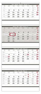 Kalendář nástěnný 2020 - Čtyřměsíční skládaný šedý