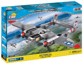 Stavebnice COBI 5539 II World War Stíhačka Lockheed P38 Lightning/395 kostek+1 figurka