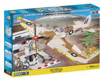 Stavebnice COBI 5546 II World War Supermarine Spitfire Hangár/500 kostek+3 figurky