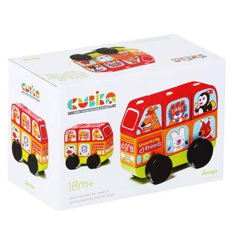 Minibus šťastná zvířátka: dřevěná skládačka 7 dílů
