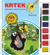 Krtek omalovánka s vodovými barvami a štětcem