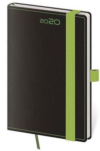 Diář 2020 - Black Green/týdenní kapesní /s poutkem na propisku