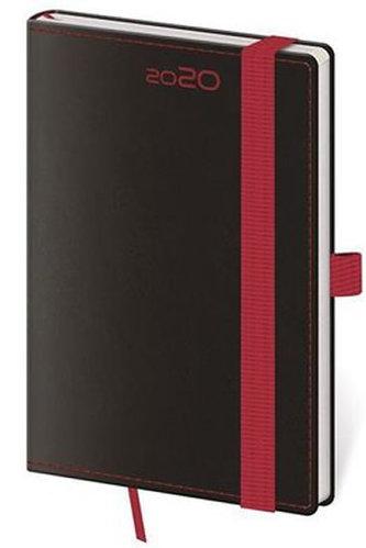 Diář 2020 - Black Red/týdenní kapesní /s poutkem na propisku