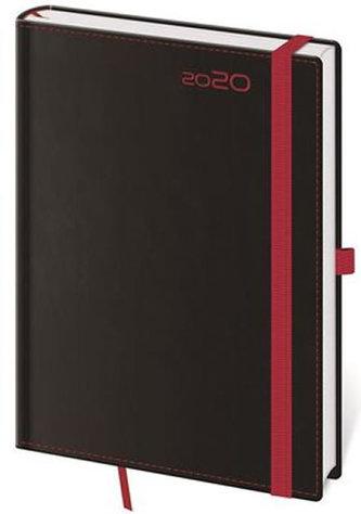 Diář 2020 - Black Red/denní A5/s poutkem na propisku