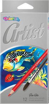 Artist - akvarelové pastelky, 12 barev + štětec