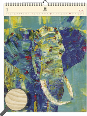 Kalendář nástěnný dřevěný 2020 - Elephant